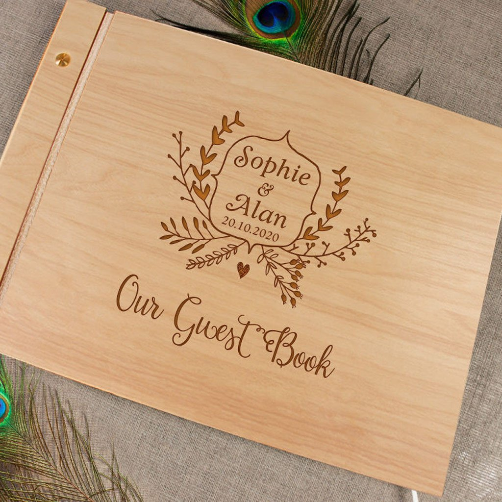 Handmade Engraved Guestbook, Wood Guestbook, Wooden Wedding Guest