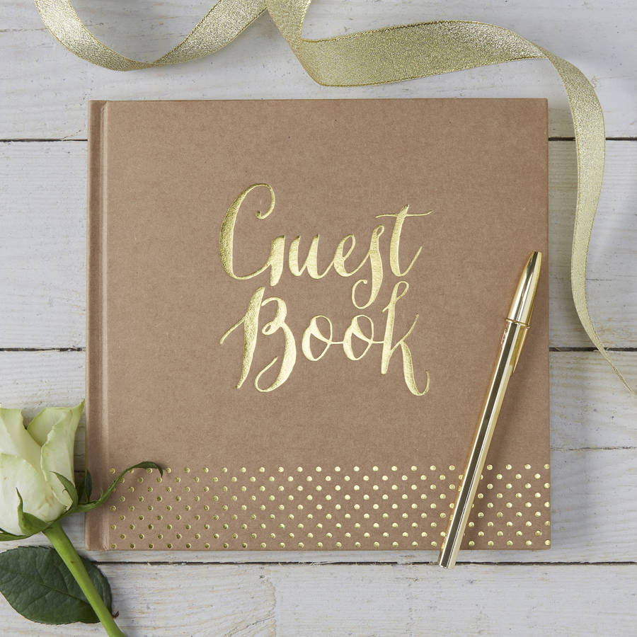 brown kraft and gold foiled wedding guest book by ginger ray