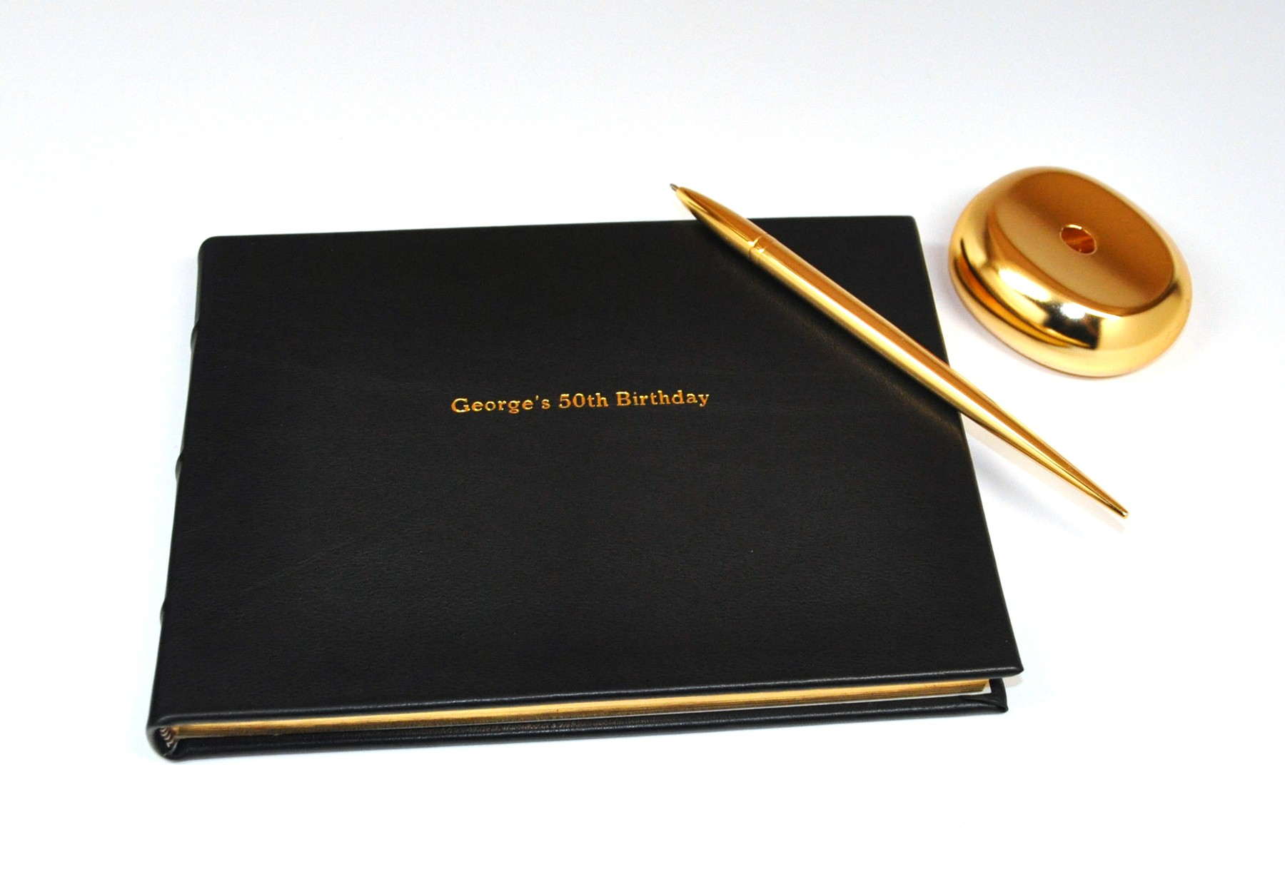 Library Bound Genuine Leather Guest Book from Blue Sky Papers