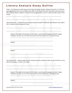 Literary Analysis Essay Outline Writing Teacher Tools