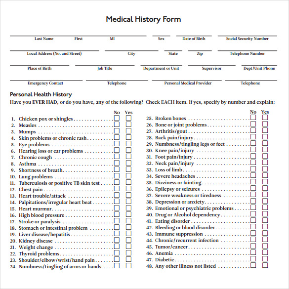 Medical History Form