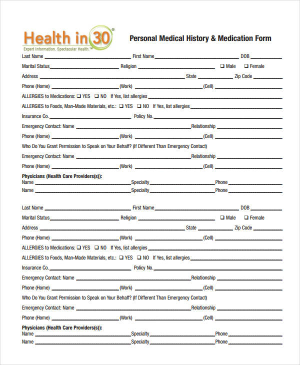 Online Fillable Family Medical History Form Fill Online