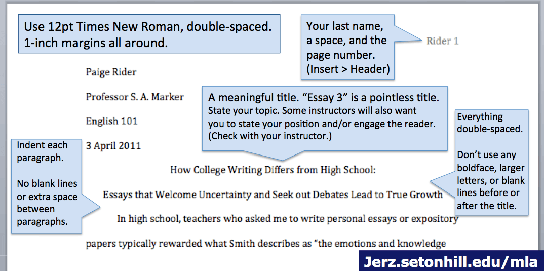 MLA Style Paper: Layout of First Page | Jerz's Literacy Weblog