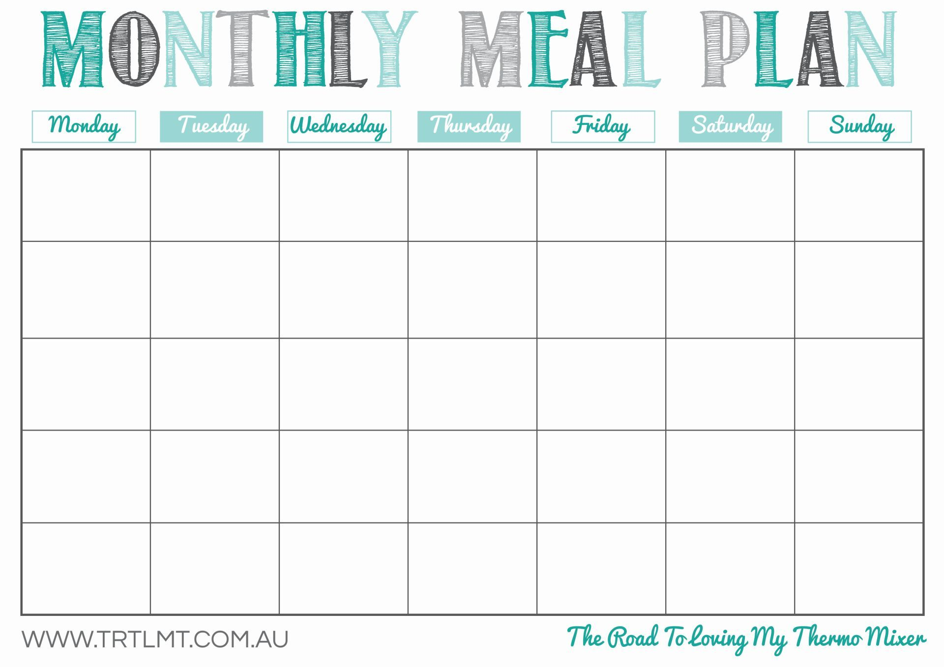 Monthly menu planner template download