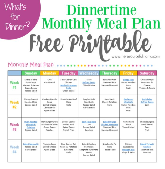 Monthly Meal Plan for Dinner {Free Printable | Menu Planning