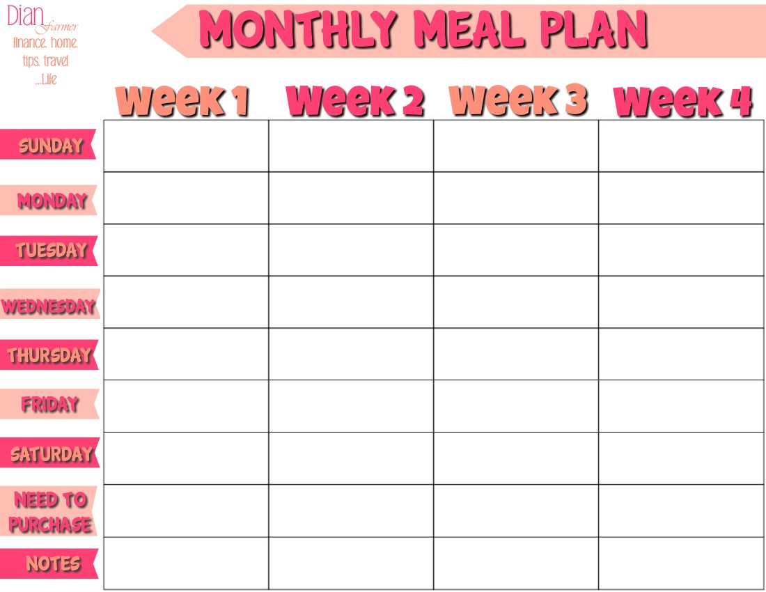 free monthly meal planner Kleo.beachfix.co