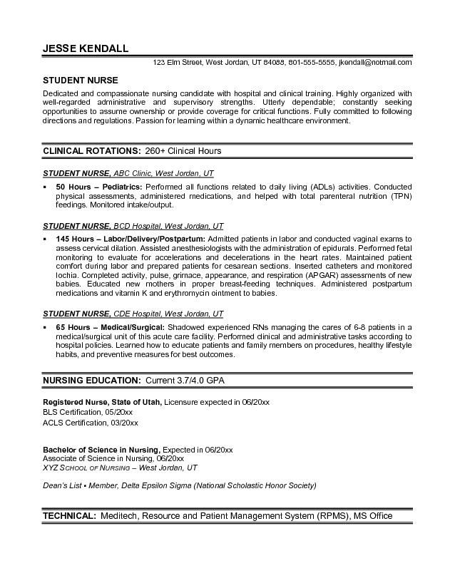 Example Student Nurse Resume Free Sample | Nursing School