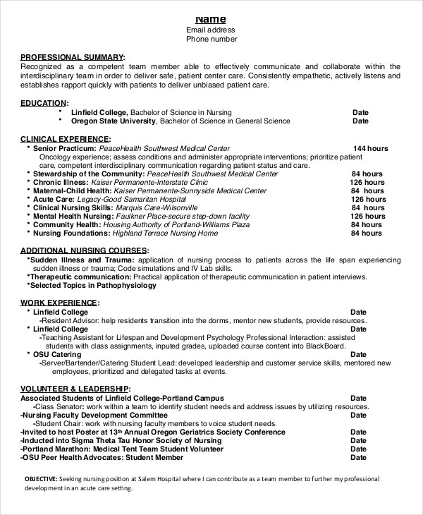 Nursing Student Resume Example 10+ Free Word, PDF Documents