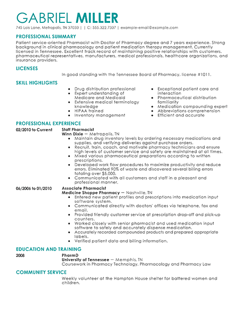 Pharmacist Resume Example – Best Resume Template