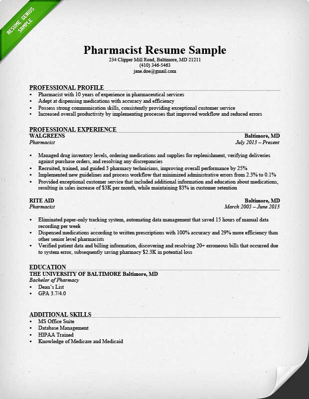Pharmacist Resume Sample & Writing Tips | Resume Genius