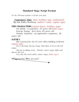 Stage Play Format Handout by Jeffrey Northrup | Teachers Pay Teachers