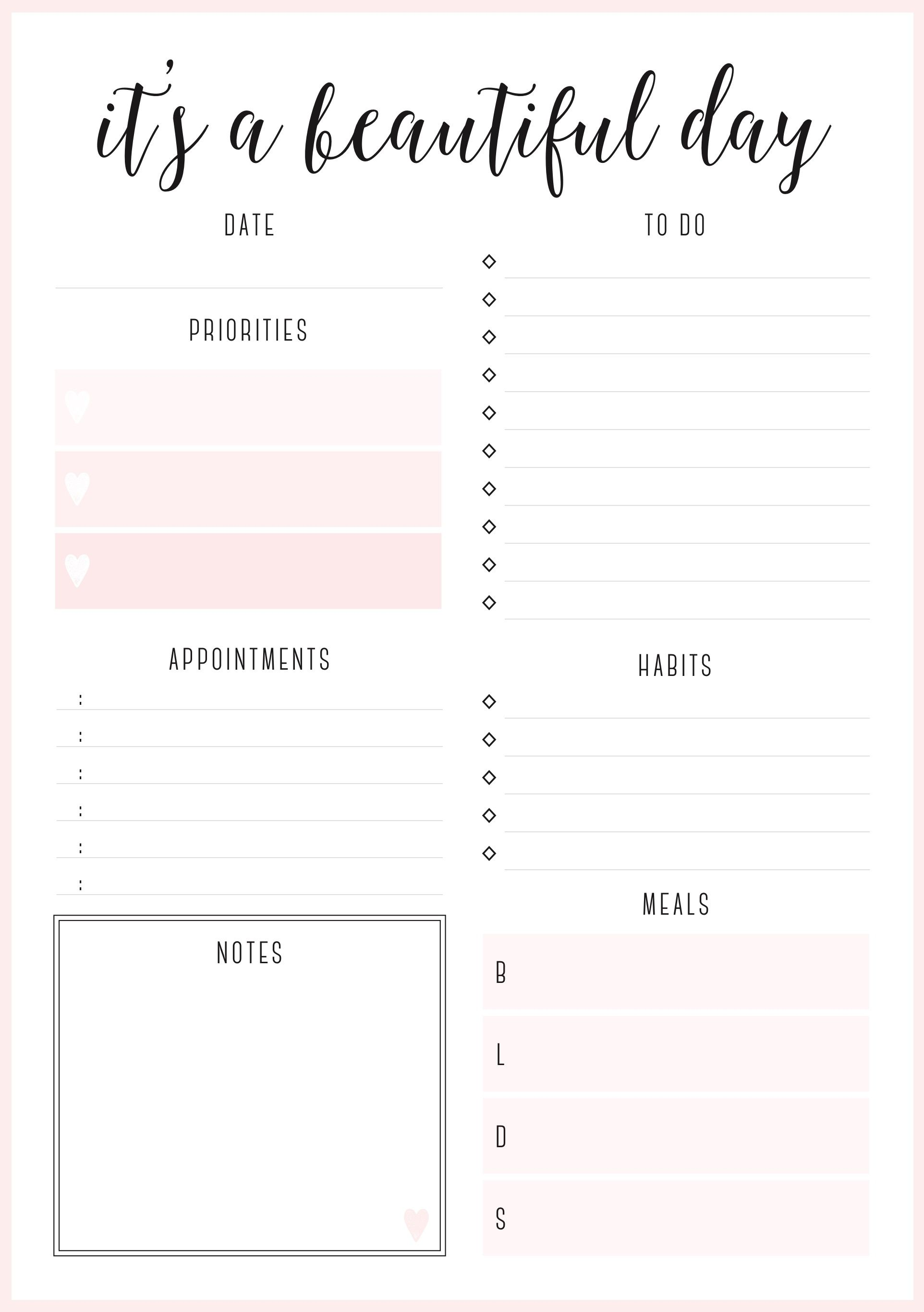 Beautiful daily planners FREE printables | Organization