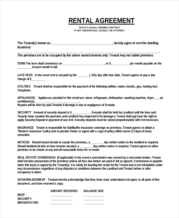 simple rental agreement form pdf Kleo.beachfix.co