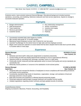 Impactful Professional Food & Restaurant Resume Examples