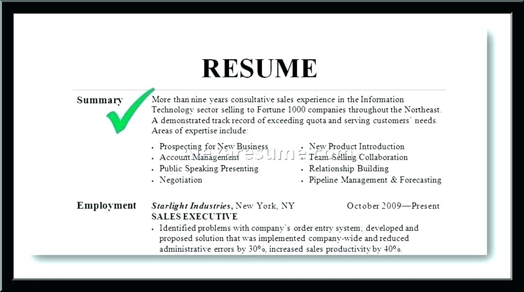 summary on a resumes