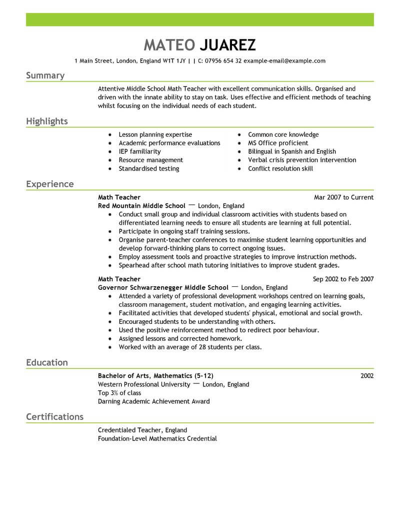 Sample Teacher Resume | Resume Template