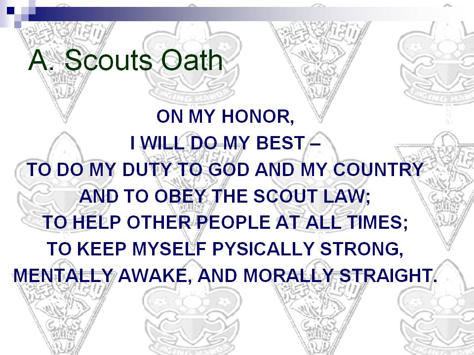 Scout Oath, Law, and Outdoor Code Spartan patrol troop 22