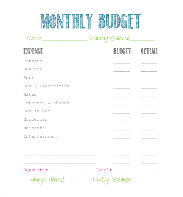 simple budget sheet printable Kleo.beachfix.co