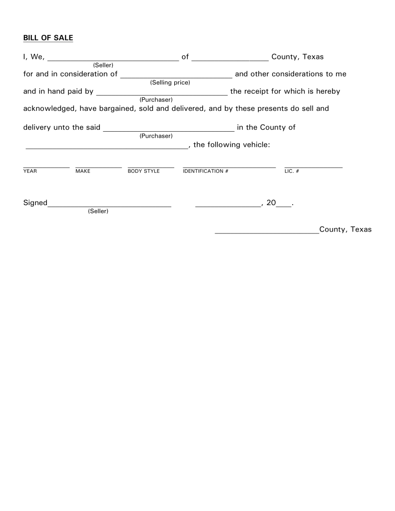 Free Texas Motor Vehicle Bill of Sale Form PDF | eForms – Free