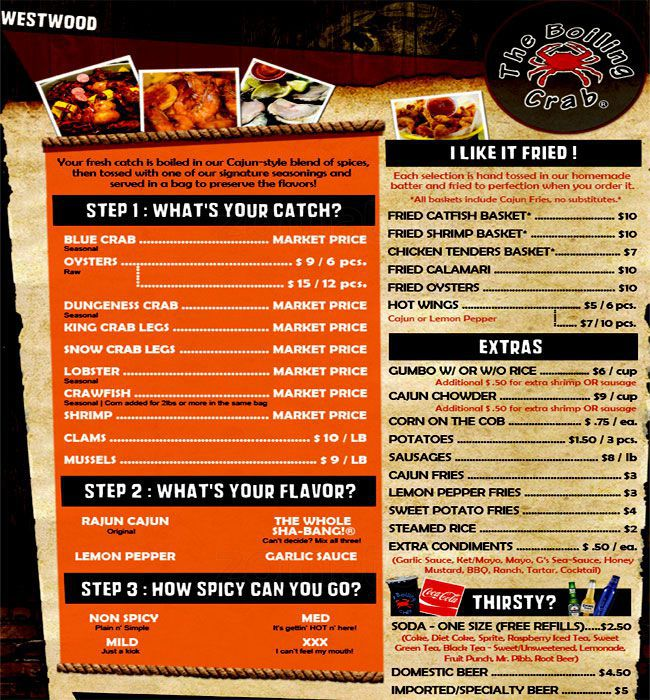 The Boiling Crab Menu, Menu for The Boiling Crab, Mira Mesa, San