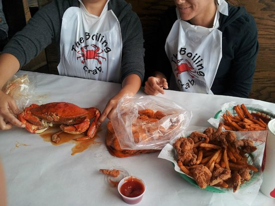 Crab, shrimps, deep fried shrimps, sweet potatoe fries and regular