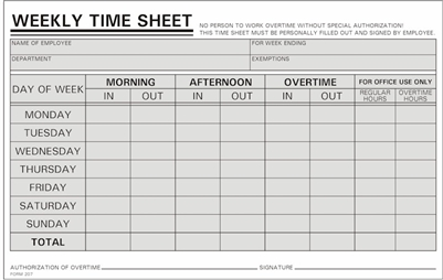 1,000 Time Sheets Handwritten Weekly M S 800 858 7462