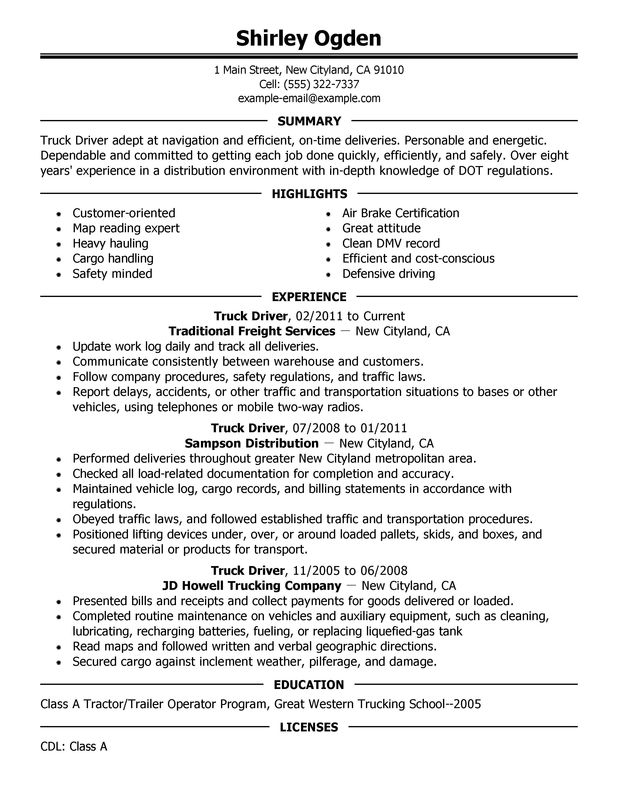 Truck Driver Resume Examples Created by Pros | MyPerfectResume