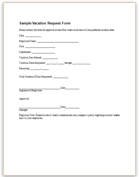 Vacation Request Form Templates Frsc.us