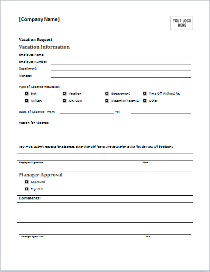 Fillable Online VACATION REQUEST FORM Employee Supervisor HR DATE