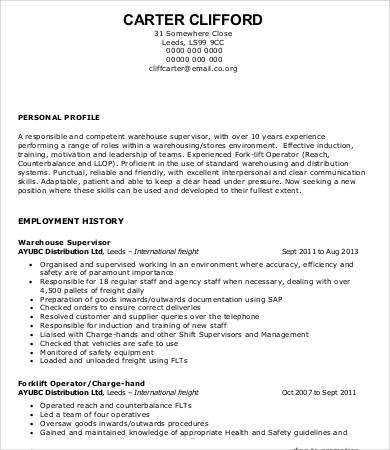 Warehouse Worker Resume 7+ Free Sample, Example, Format | Free