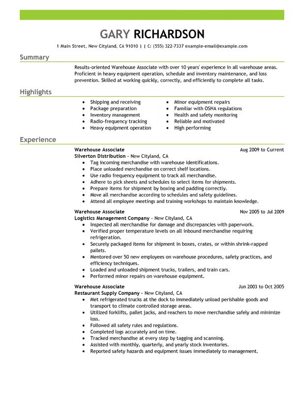 Warehouse Associate Resume Examples {Created by Pros