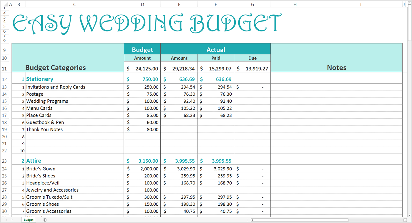 Easy Wedding Budget Excel Template Savvy Spreadsheets