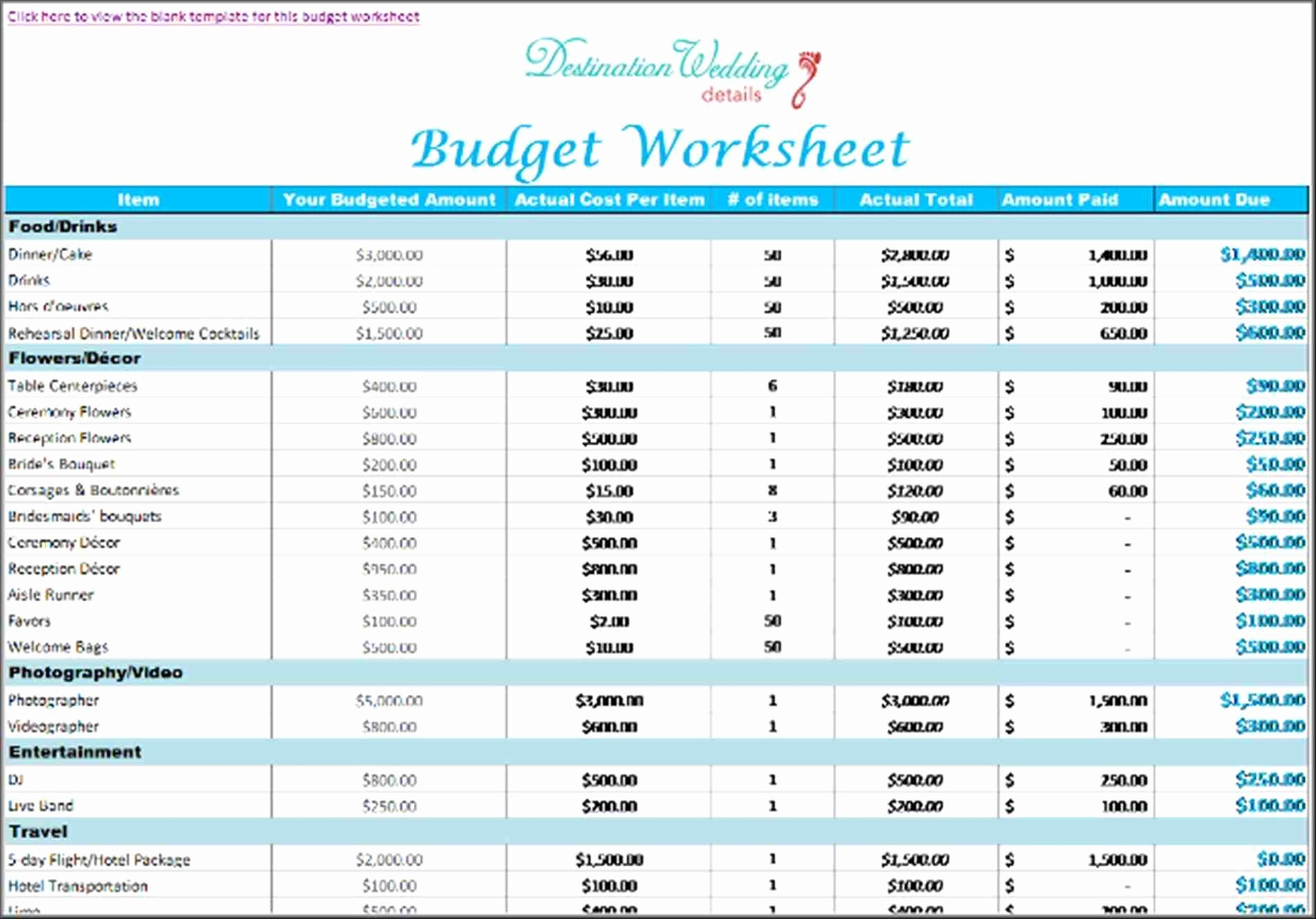 wedding plan budget worksheet Kleo.beachfix.co