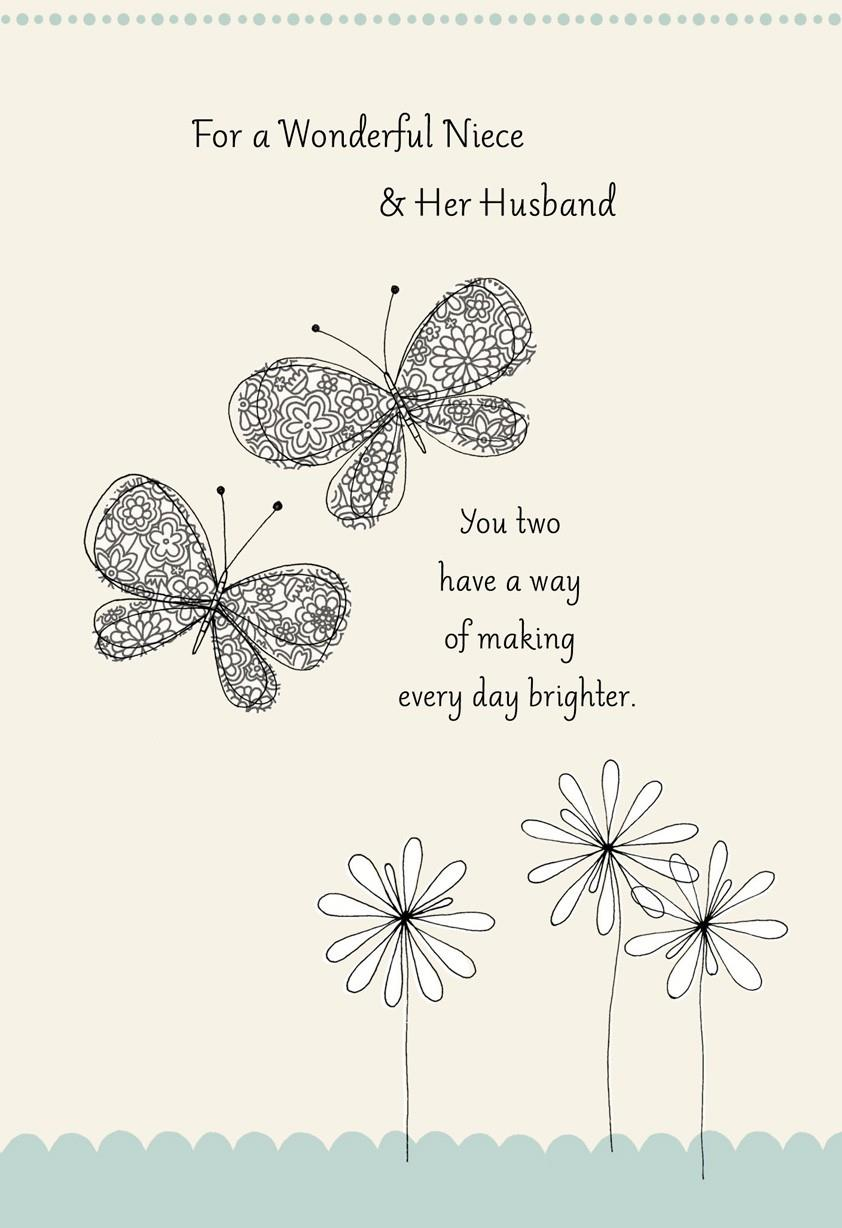 Butterflies Wedding Card for Niece Greeting Cards Hallmark