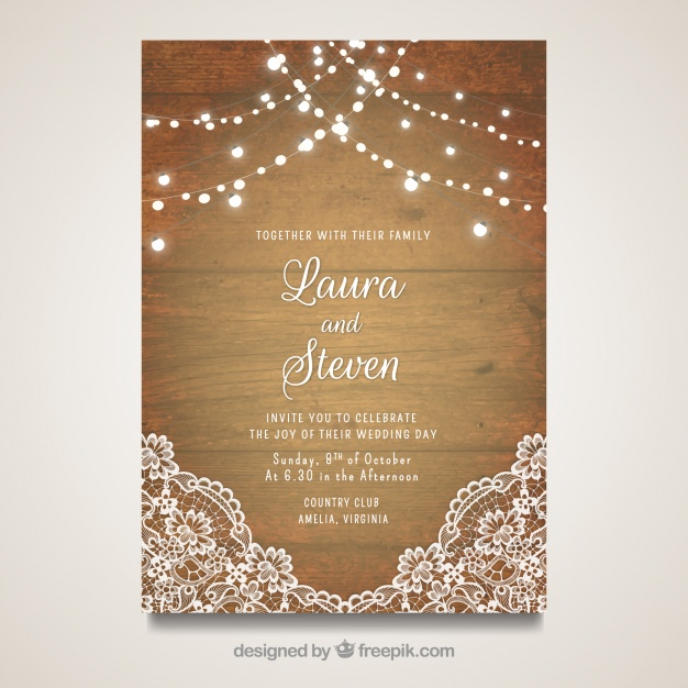 Elegant wedding card with wooden design Vector | Free Download