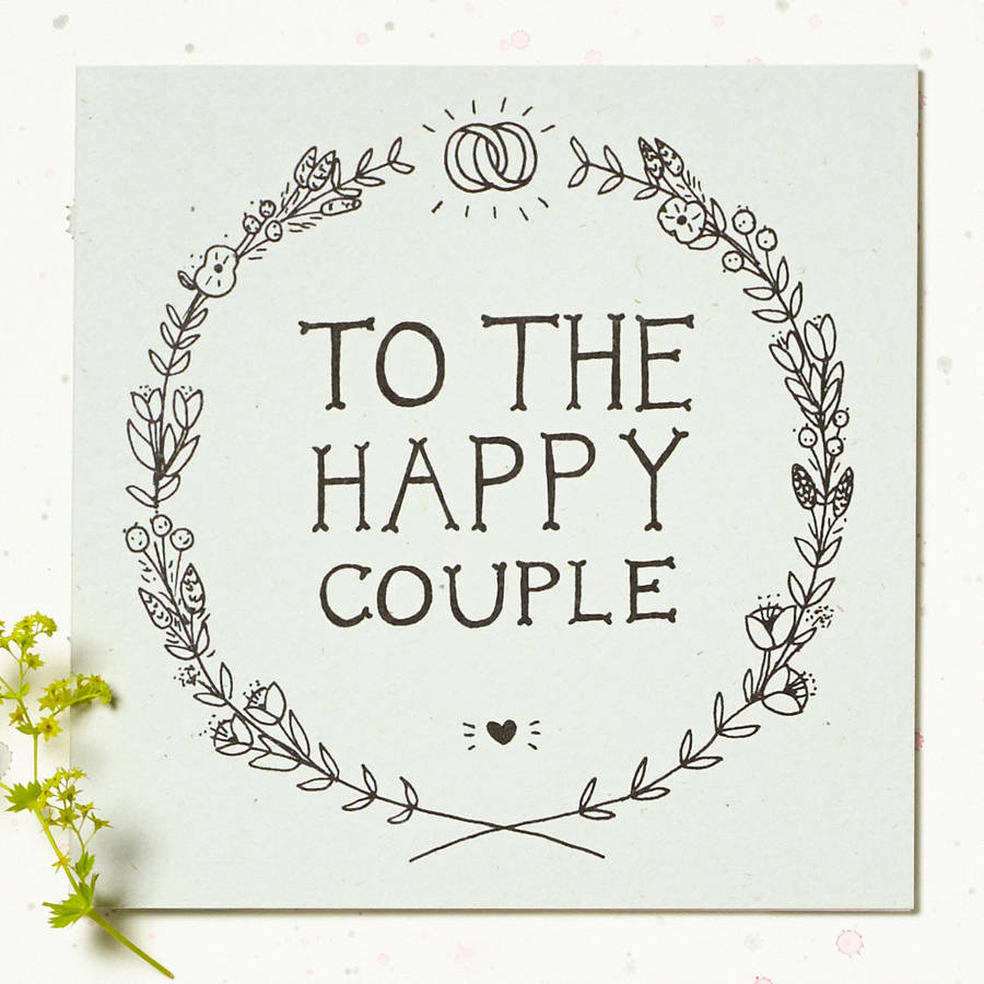 to the happy couple' wedding card by wolf whistle