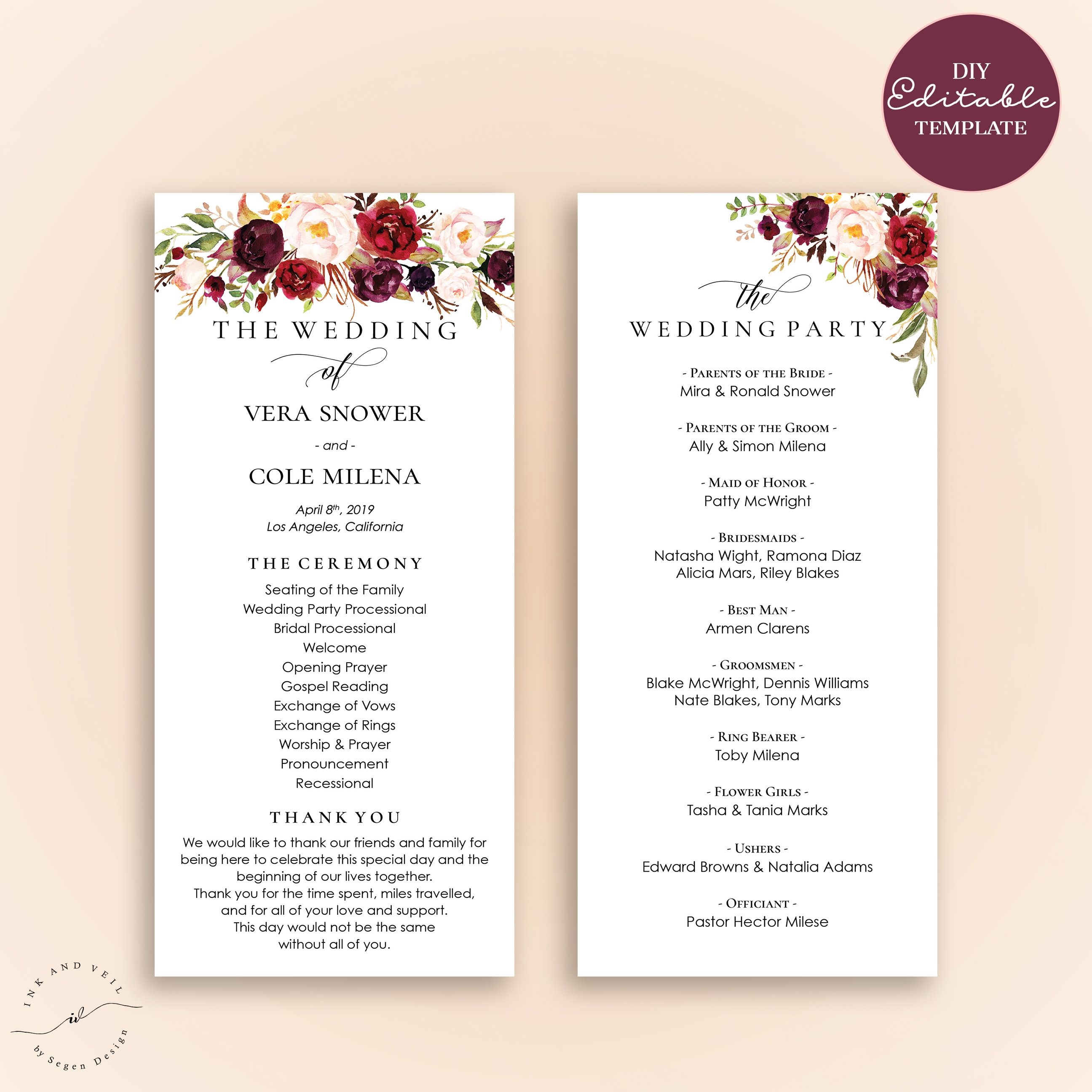 Sample Of Wedding Program Wedding Programs Examples On Wedding