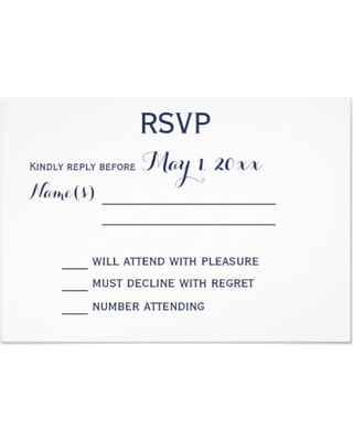 Summer Shopping Special: Custom White And Blue Wedding RSVP Cards
